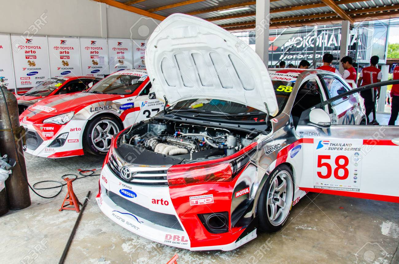 Choun buri july 5 toyota altis car in pit on display at the thailand