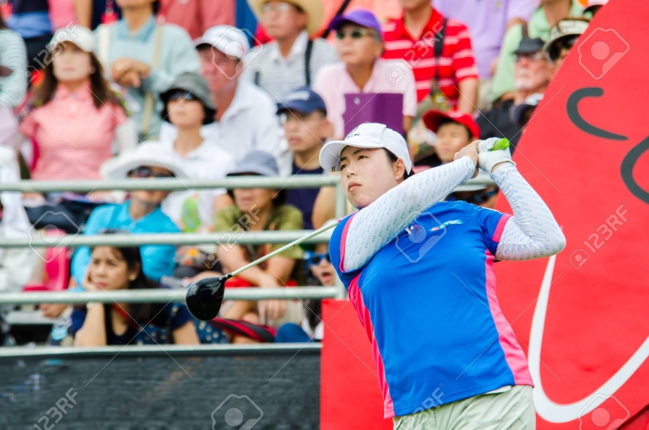 CHONBURI - FEBRUARY 28: Shanshan Feng of China in Honda LPGA Thailand 2015 at Siam Country Club, Pattaya Old Course on February 28, 2015 in Chonburi, Thailand. - 37284307