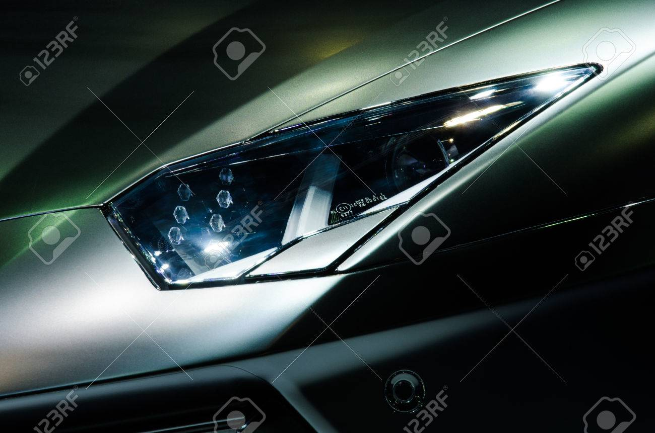 Nonthaburi March 24 Headlight Of Lamborghini Aventador On Stock