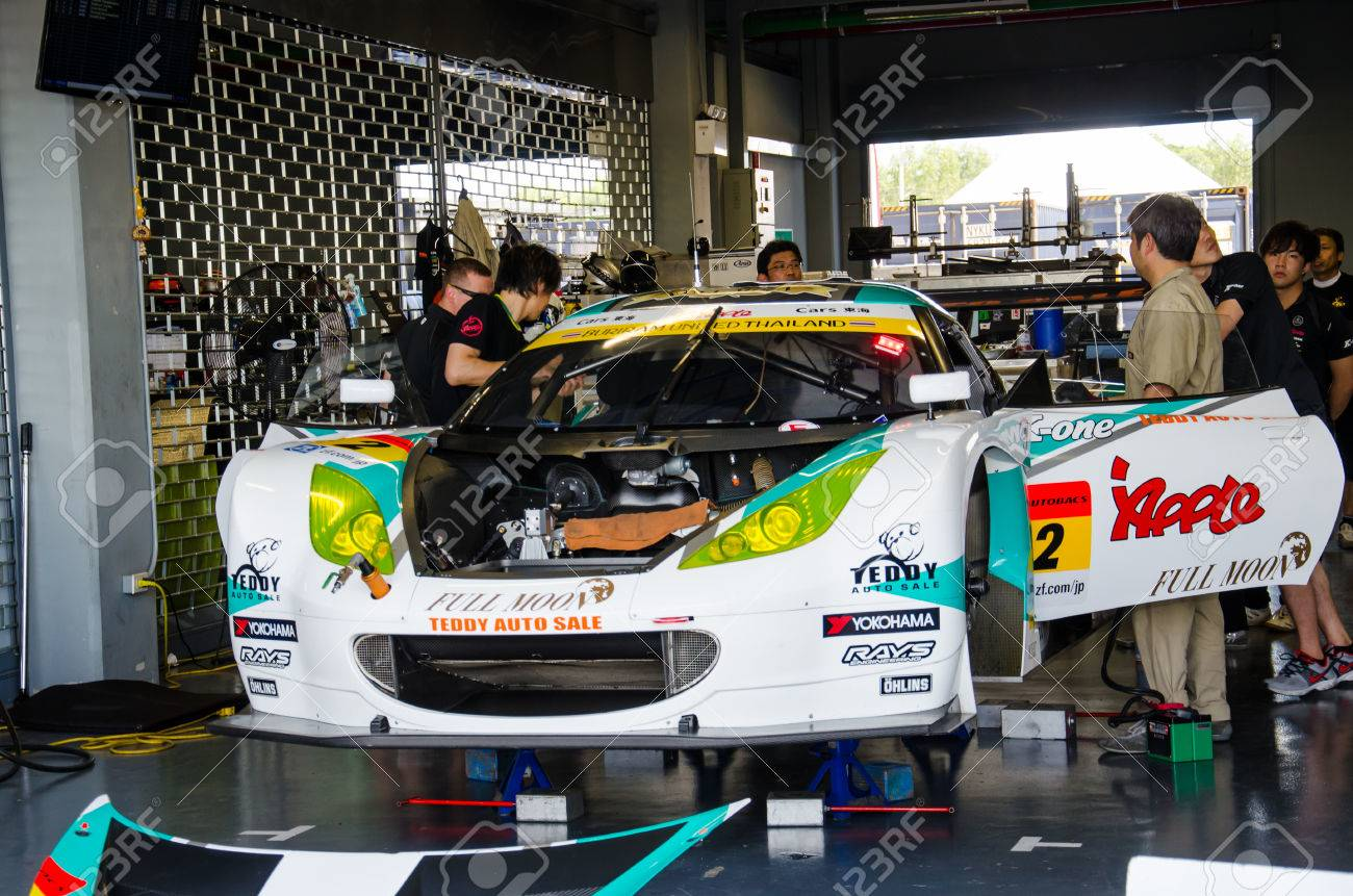 BURIRAM JUNE 20: Porsche Racing Car In Pit On Display At The.. Stock ...