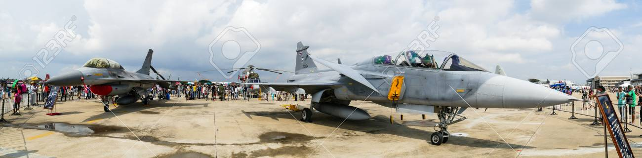 BANGKOK - JANUARY 9 : JAS 39 Gripen and F-16 on display in Children