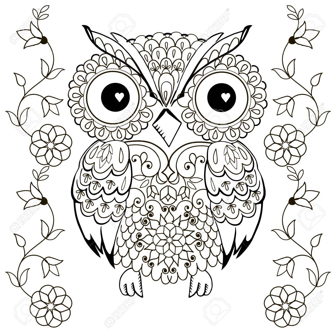 Owl drawing for coloring antistress stock vector 65790474