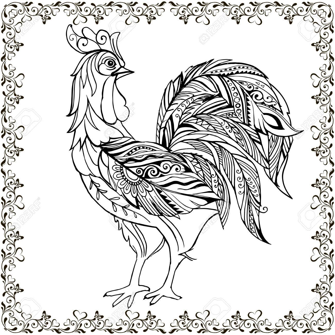 Drawing Hands Monochrome Decorative Rooster In Floral Frame ...