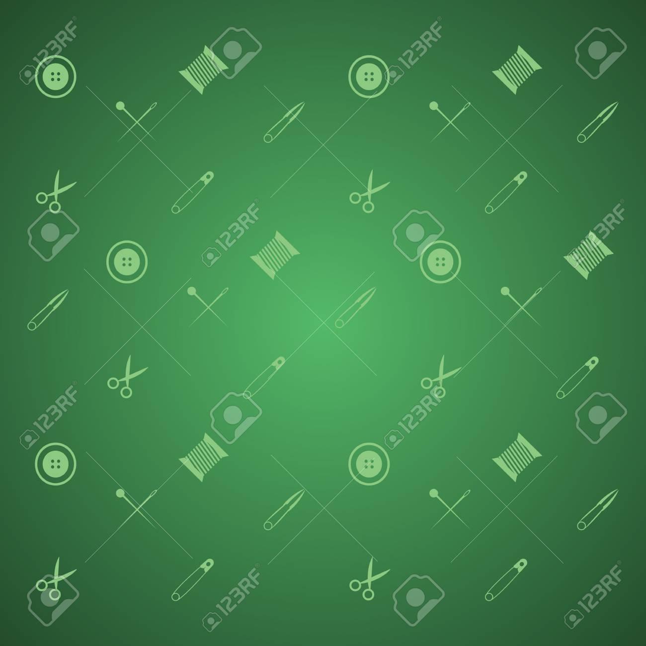Muster Mit Nähzeug Auf Grünem Hintergrund Lizenzfreie Fotos, Bilder ...