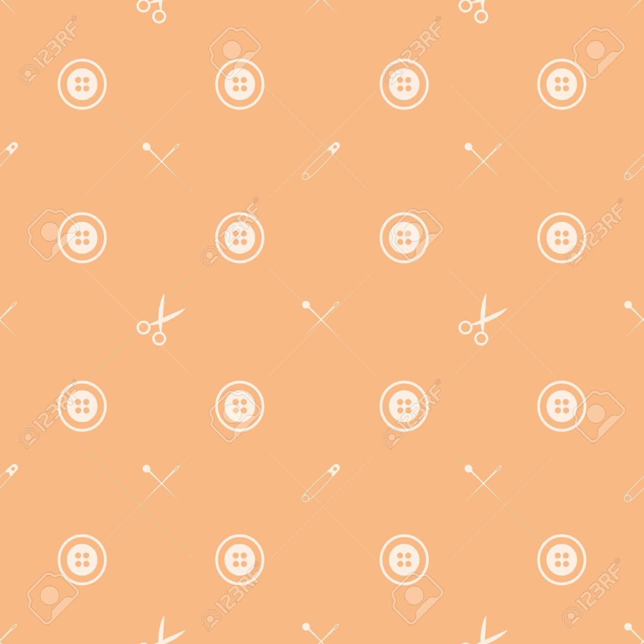 Nahtlose Vektor-Muster Mit Weißen Zeichen Von Nähzeug Auf Orange ...