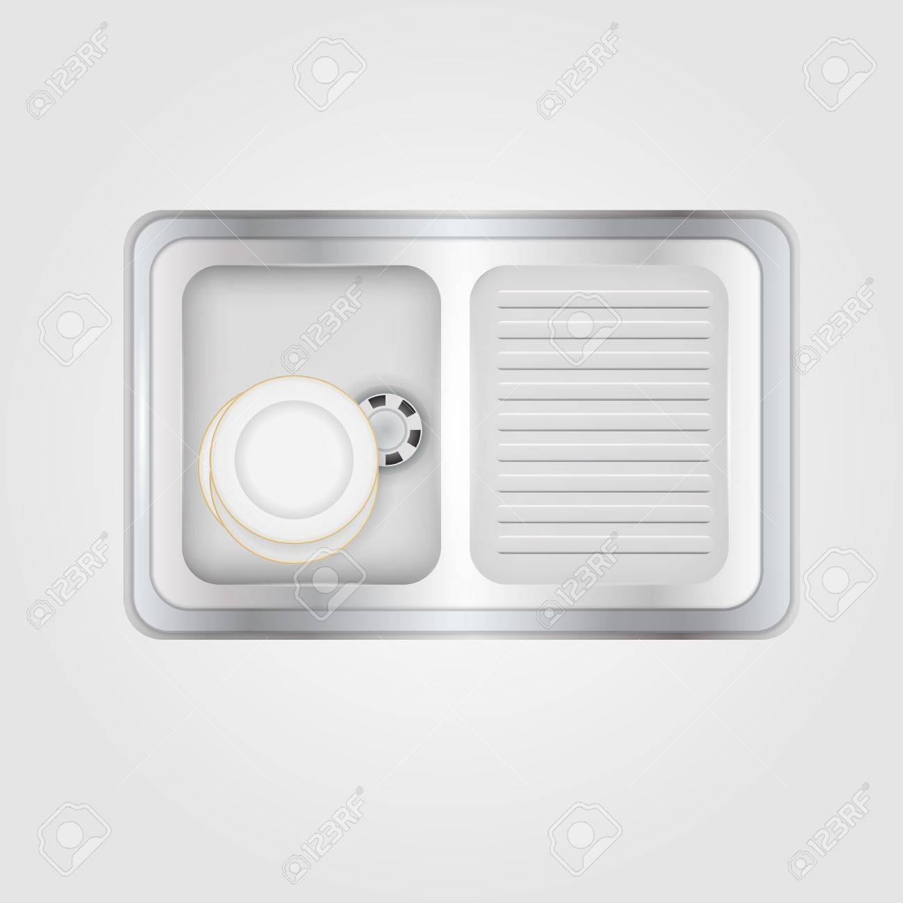 Metallic Kitchen Sink With White Plates A Top View Isolated
