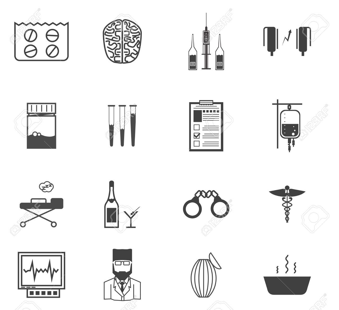 Set of black vector icons with symbols of elements for psychiatry set of black vector icons with symbols of elements for psychiatry and narcology on white background biocorpaavc Gallery