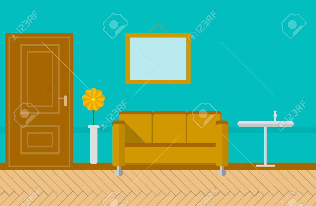 salotto o soggiorno con parete blu con l'immagine, porta marrone ... - Soggiorno Blu E Marrone 2