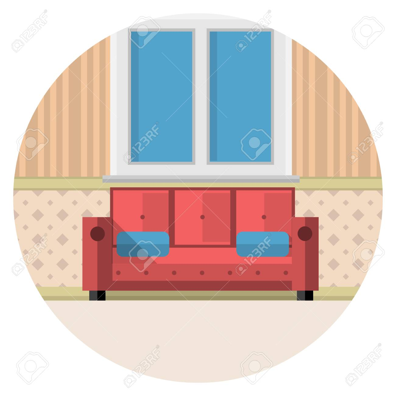 Red Sofa With Two Blue Pillows Under The Window With White Frame