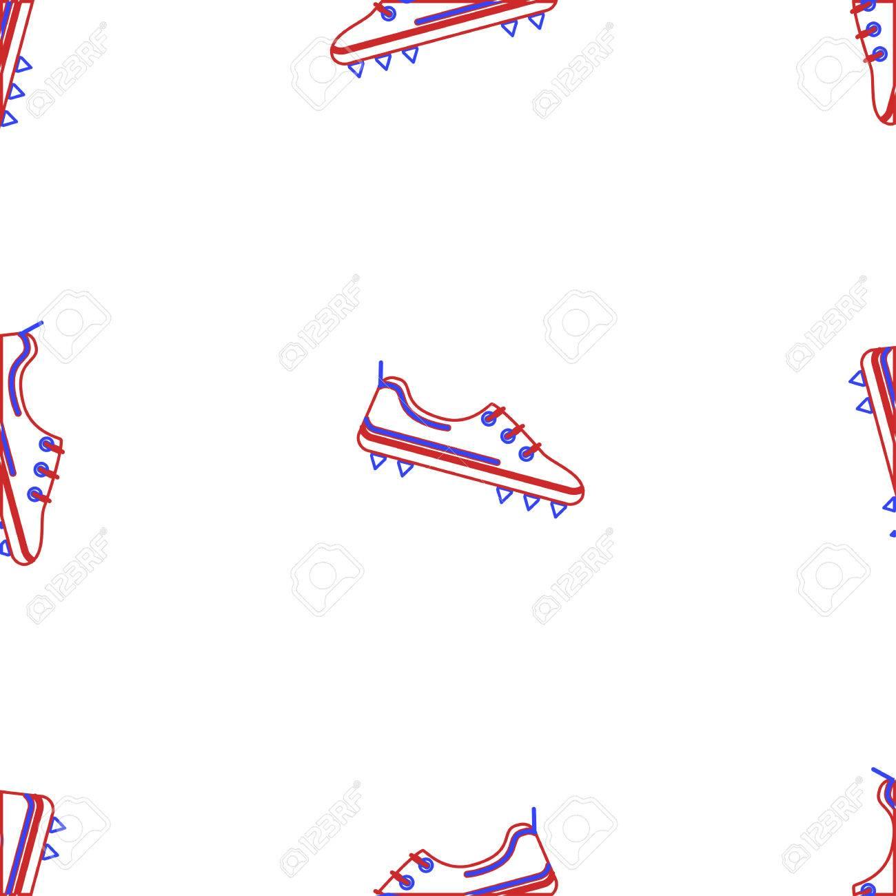 Modelo Inconsútil Del Vector Con American Contorno Zapatos De Fútbol ...
