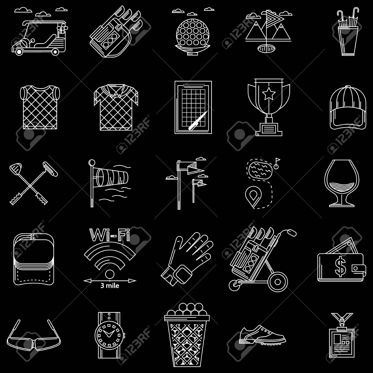 White contour icons vector collection of elements and symbols white contour icons vector collection of elements and symbols for golf on black background stock biocorpaavc Gallery