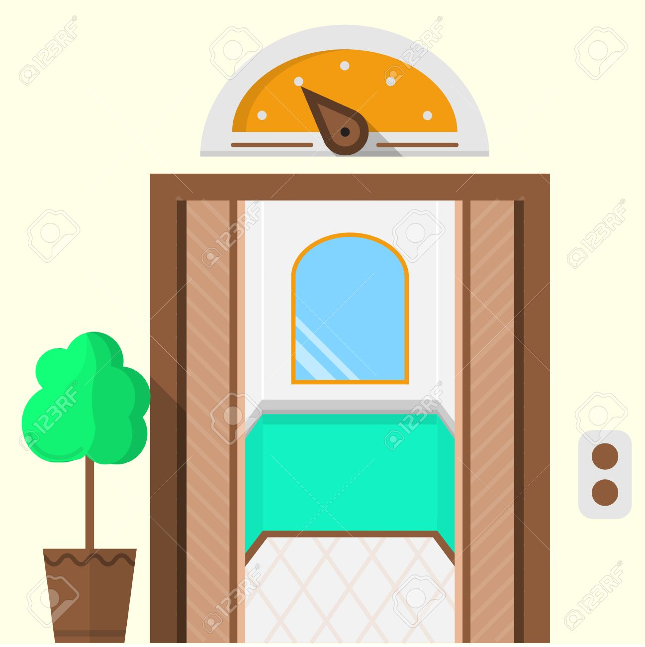 Flat Colorful Icon For Hotel With Opened Doors Elevator Mirror Inside Yellow Arrow