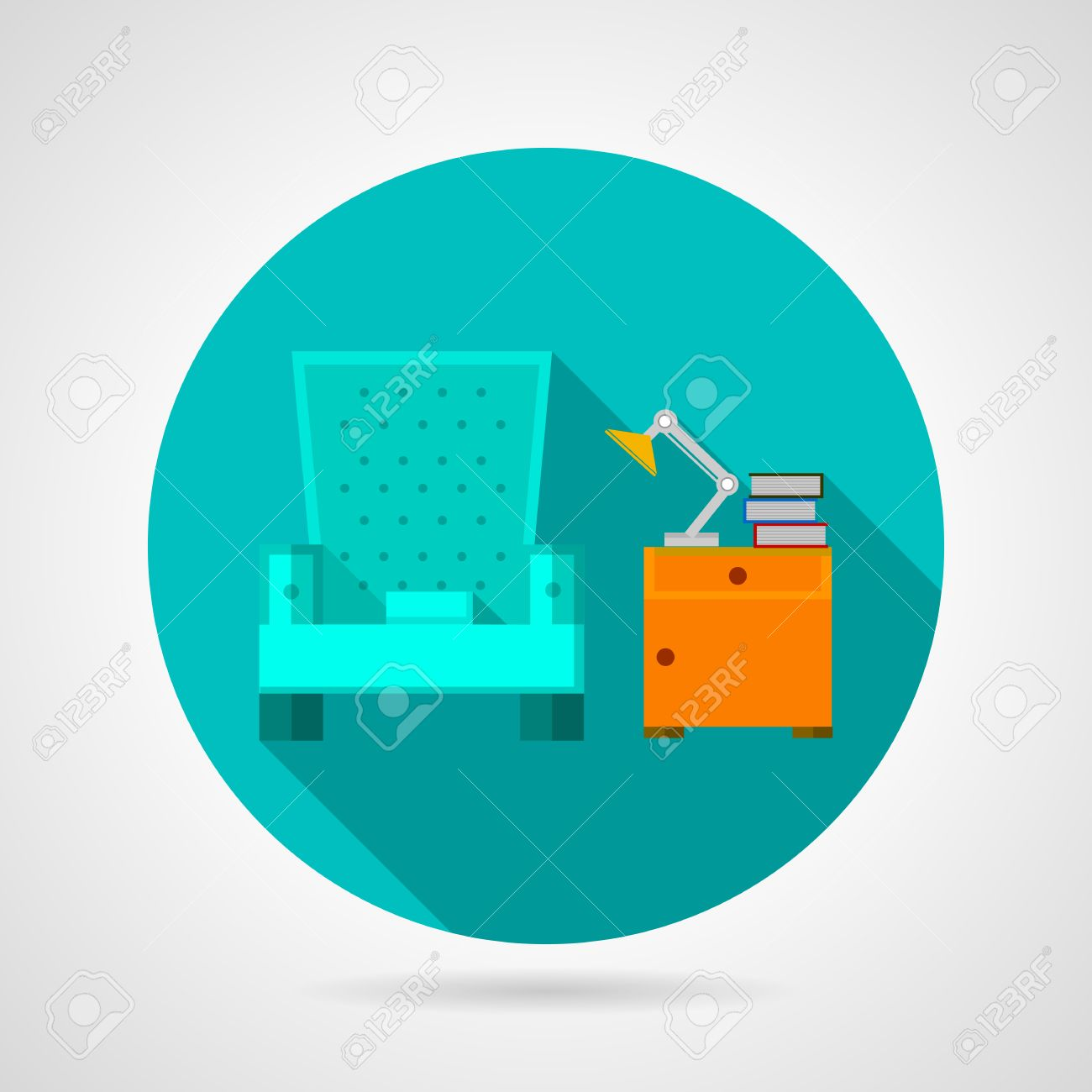 Round Blue Flat Vector Icon For Room Interior With Armchair And Orange Bedside Table