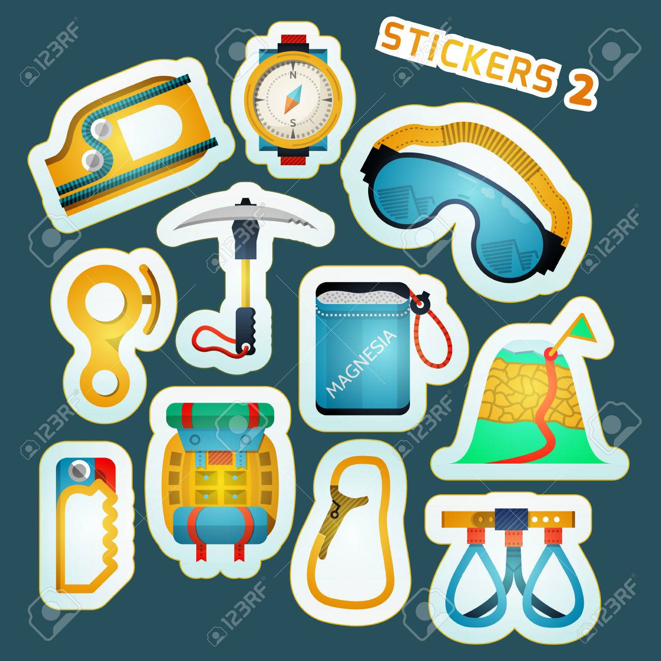 colorful stylish stickers collection for rock climbing royalty free