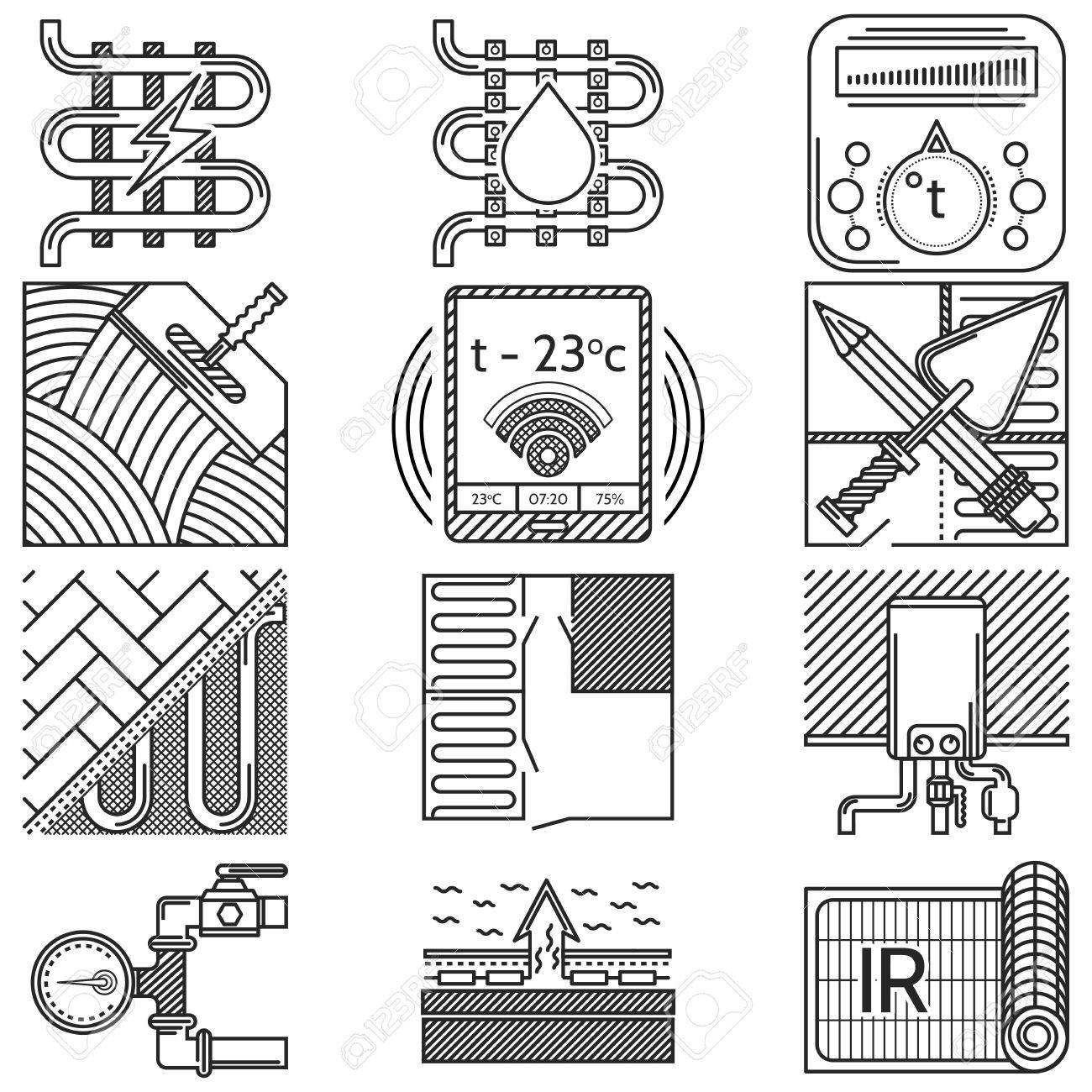 Black flat line icons vector collection of elements and symbols black flat line icons vector collection of elements and symbols for heated floor service or business biocorpaavc Gallery