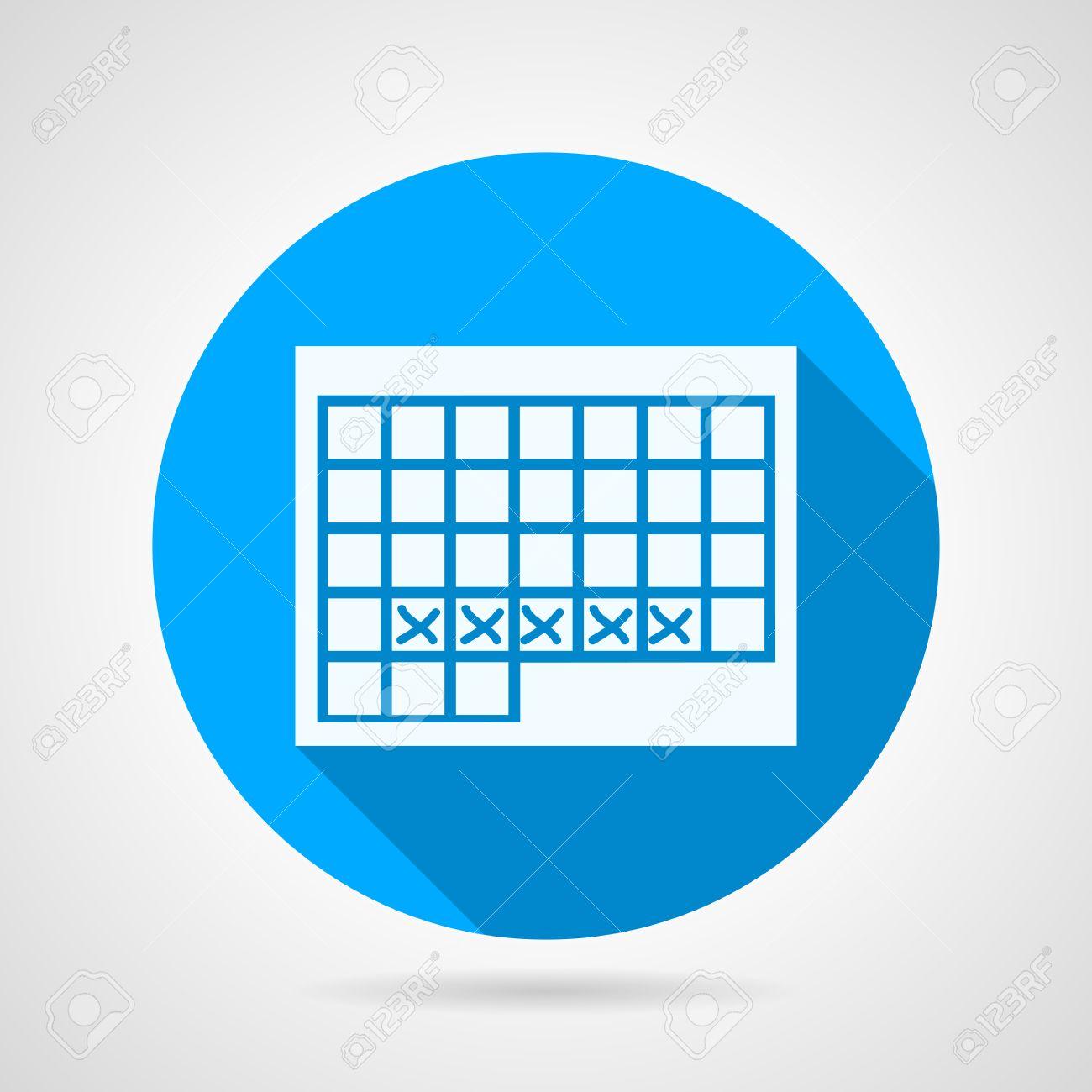 Calendario Vector Blanco.Piso Icono Azul Vector Ronda Con Blanco Calendario Silueta Para El Periodo Menstrual En El Fondo Gris Diseno Larga Sombra