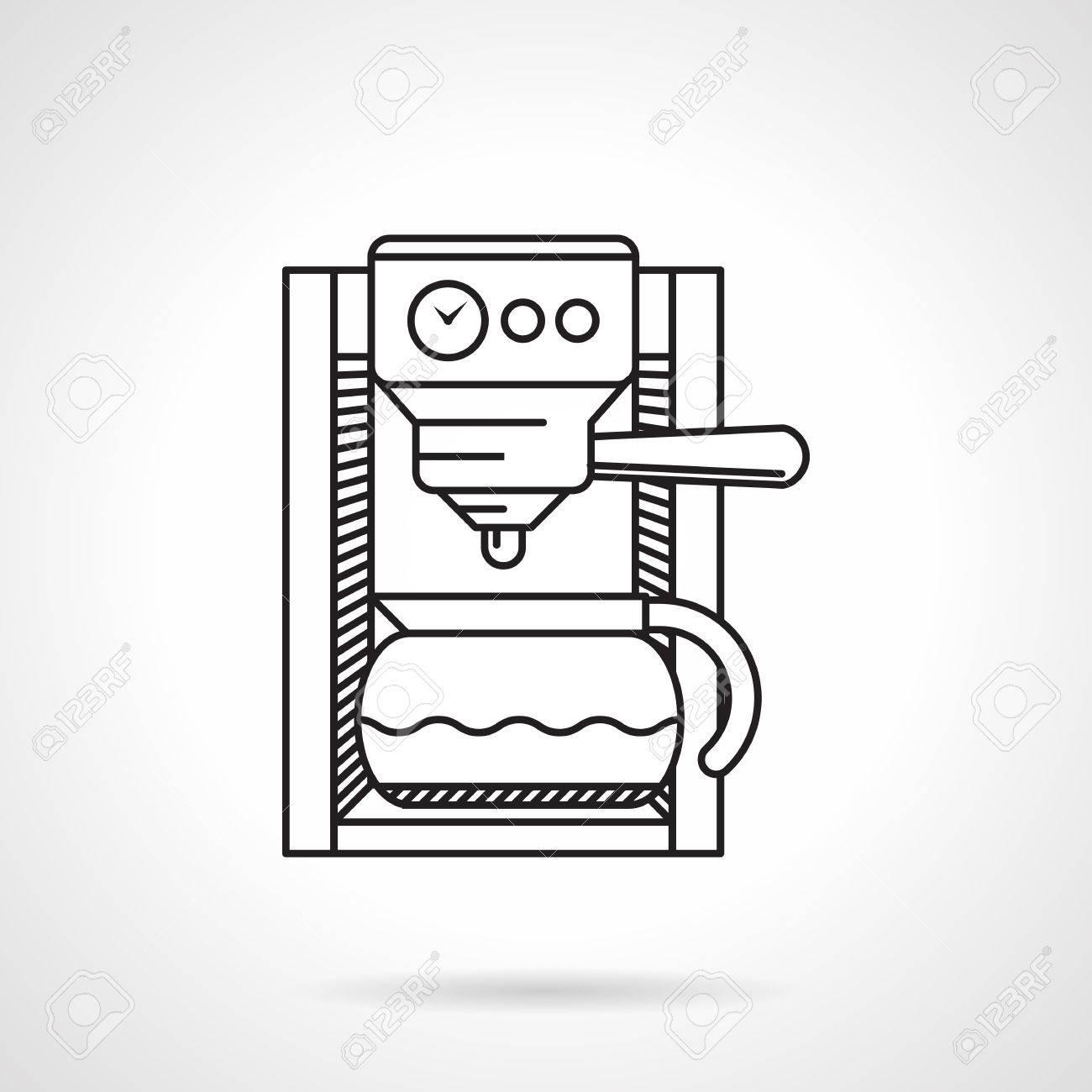 Schwarz Flache Linie Vektor-Symbol Für Elektrische Kaffeemaschine ...