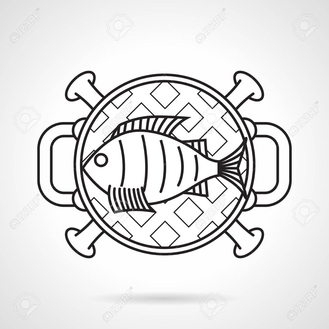black flat line vector icon for fish on barbecue grill a top