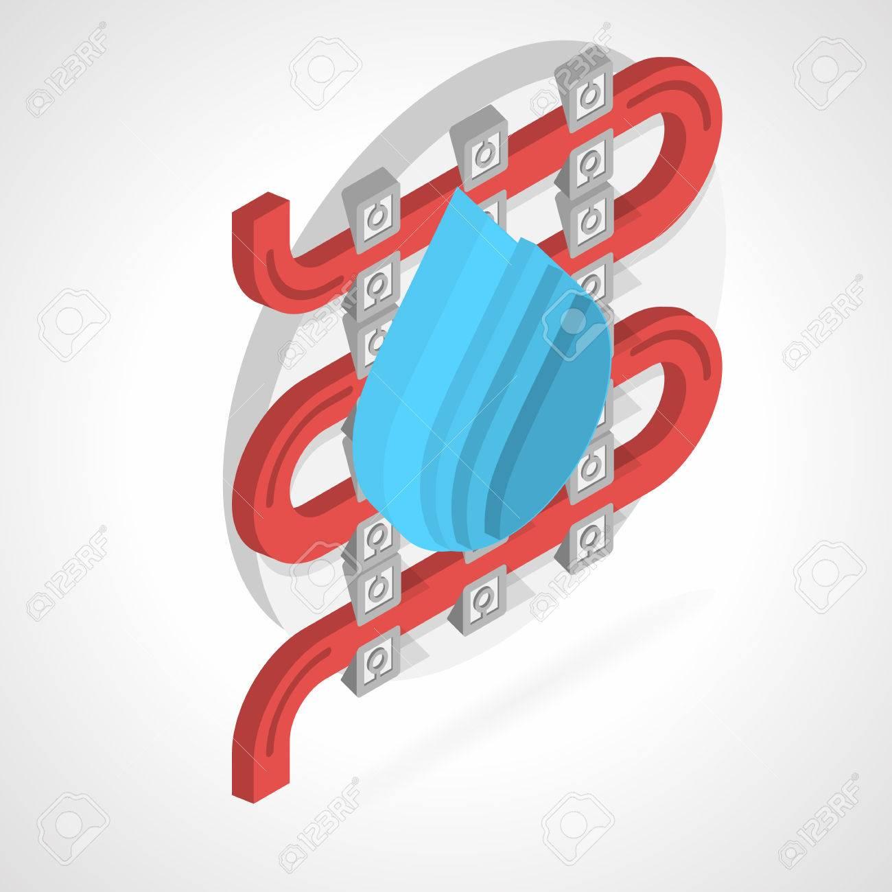 Vector Isométrica Ilustración, Diseño, Color Plano Del Sistema De ...