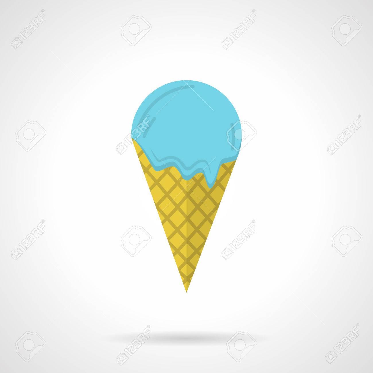 Einzelne Flache Farbgestaltung Vektor Symbol Für Eis Mit Blauen Ball Und  Gelb Wafer Kegel