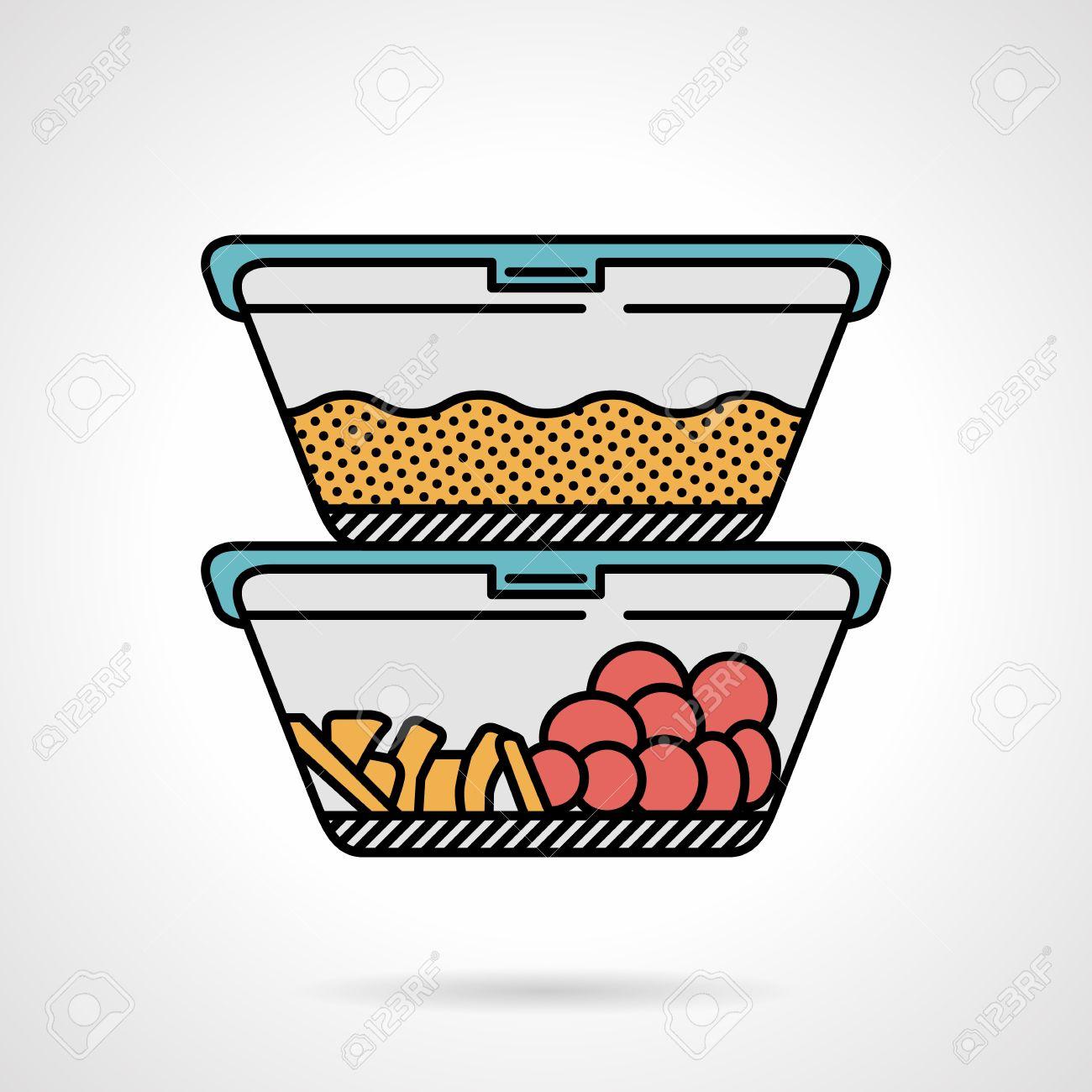 Vector Diseño Plano Coloreado Icono De Dos Recipientes De Plástico Con Cereales Verduras O Frutas Para Menú De Almuerzo En El Fondo Blanco