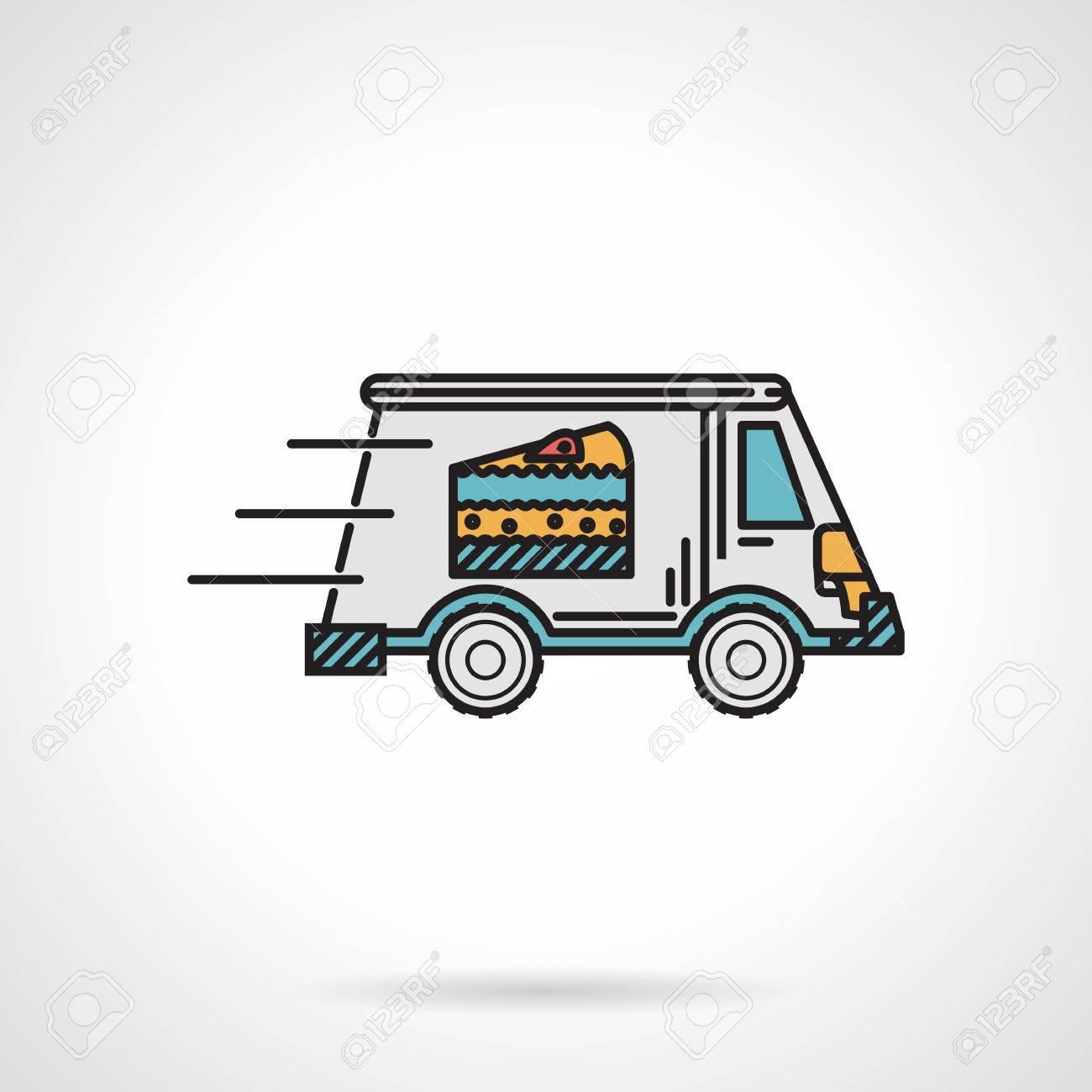 Piatto unico disegno vettore colore icona furgone dessert con la torta sul lato in movimento su