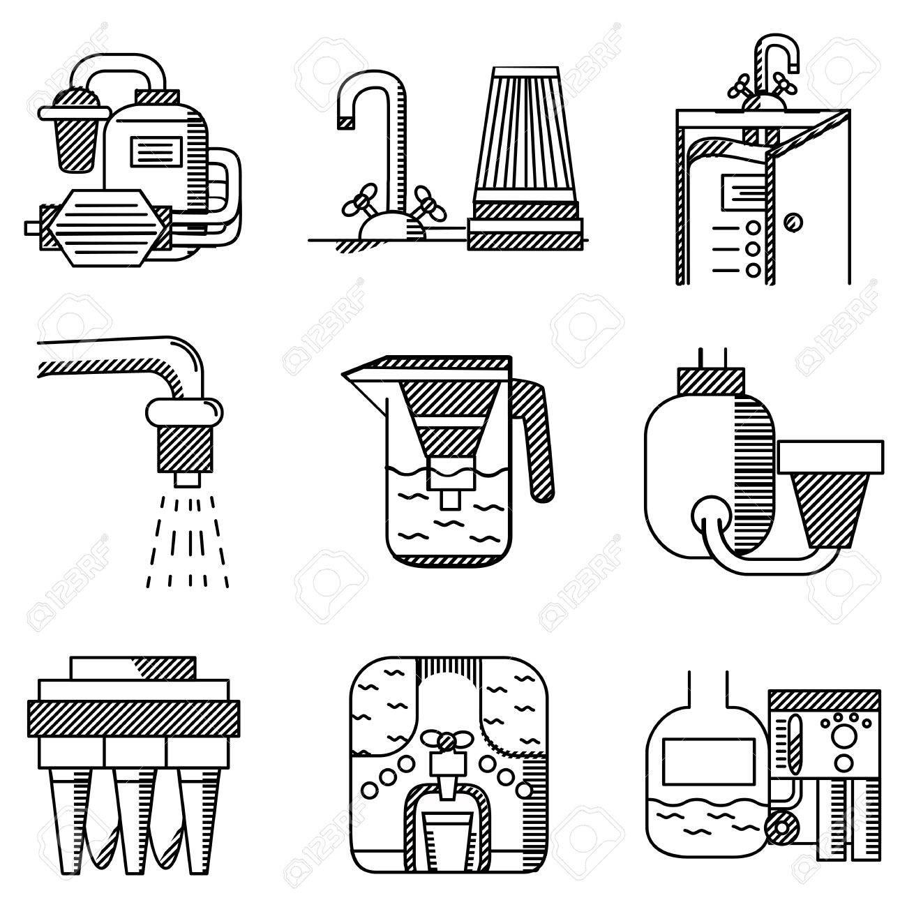 Set Schwarze Flache Linie Symbole Von Wasserfiltern. Wasserfilter ...