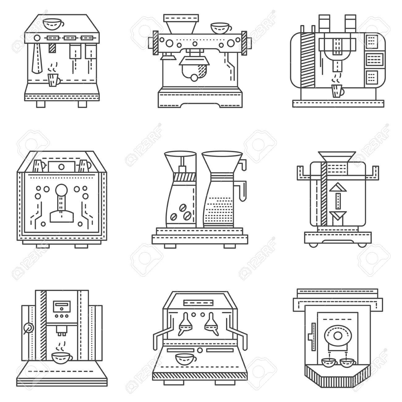 Set Of Flat Line Design Icons For Cafe And Restaurant Equipment