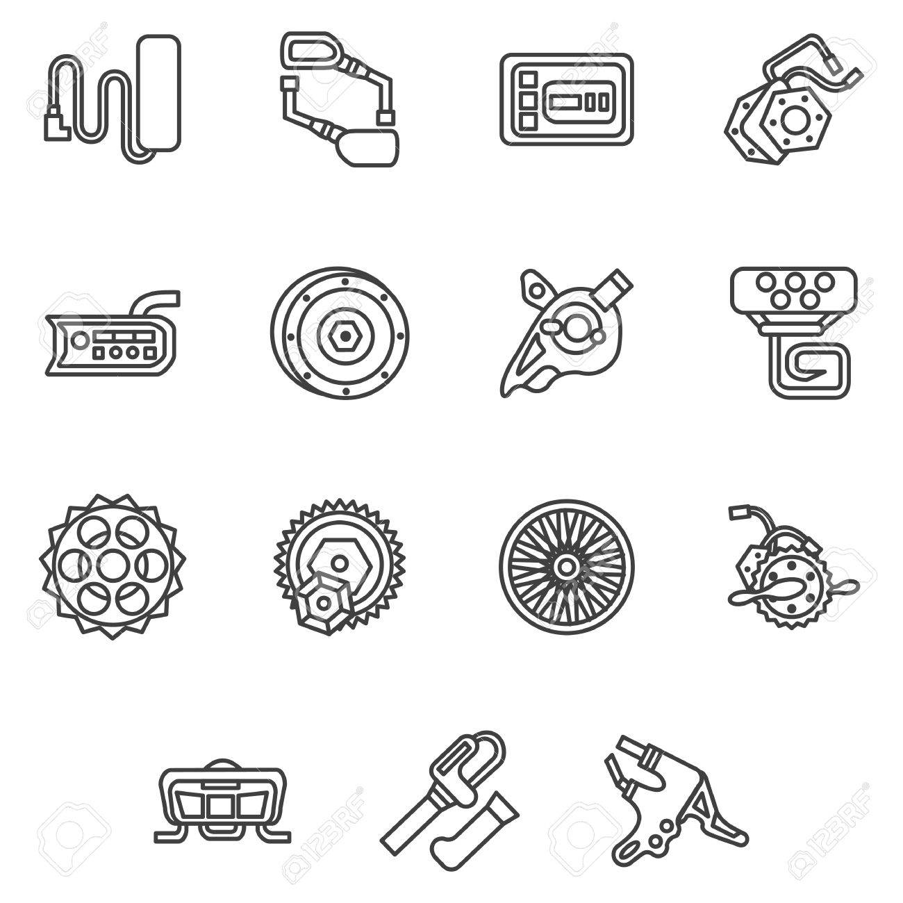 Black Simple Line Icons Of Parts And Accessories For Electric Bike Wheel Motor