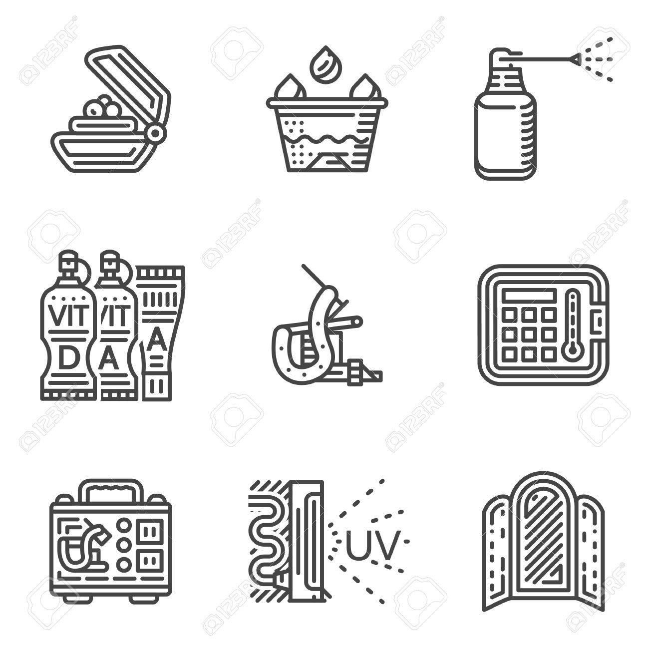 Conjunto De Iconos De Línea Negro Para El Procedimiento De Tatuaje Y