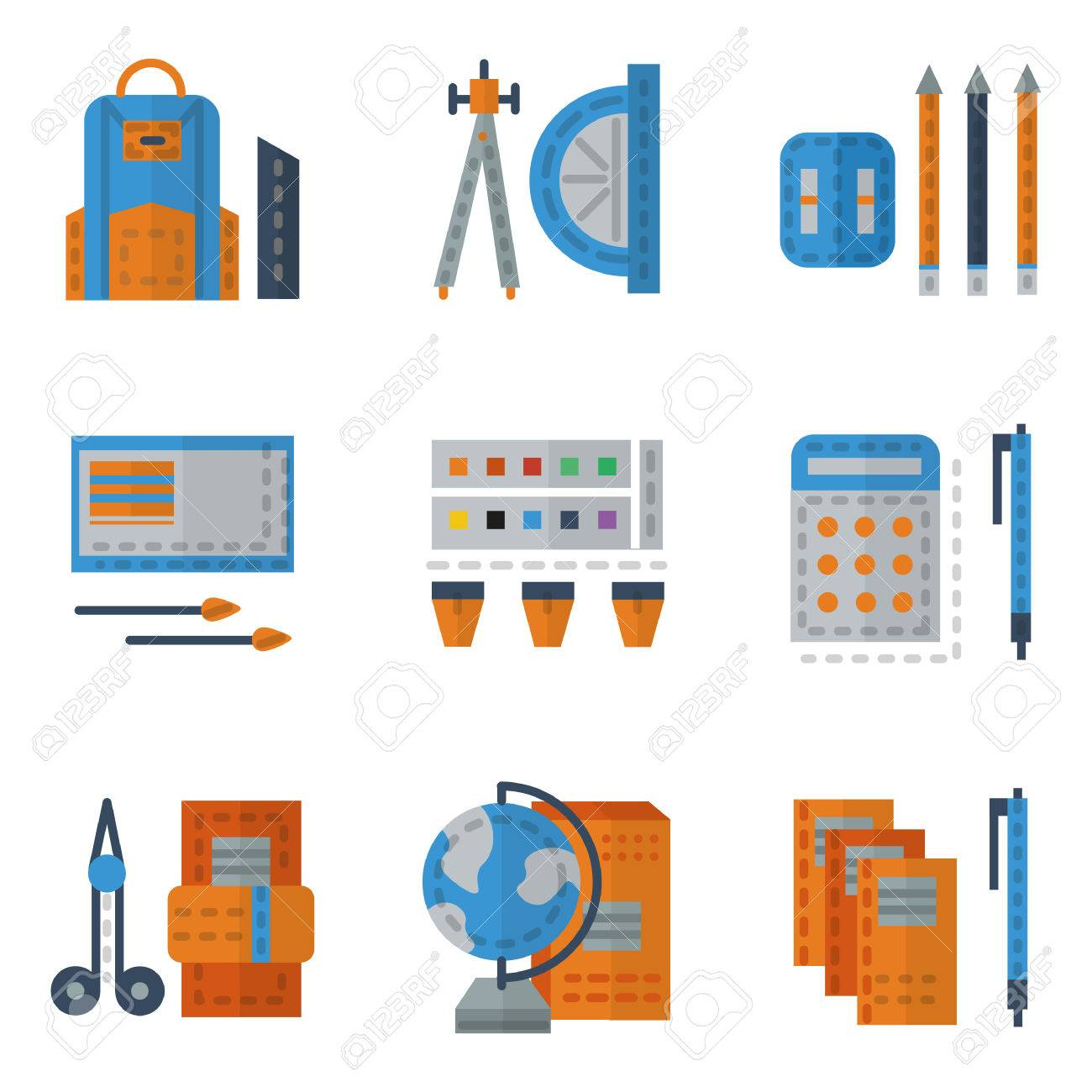 Set of flat color icons for school utensils school bag ruler set of flat color icons for school utensils school bag ruler and protractor voltagebd Images