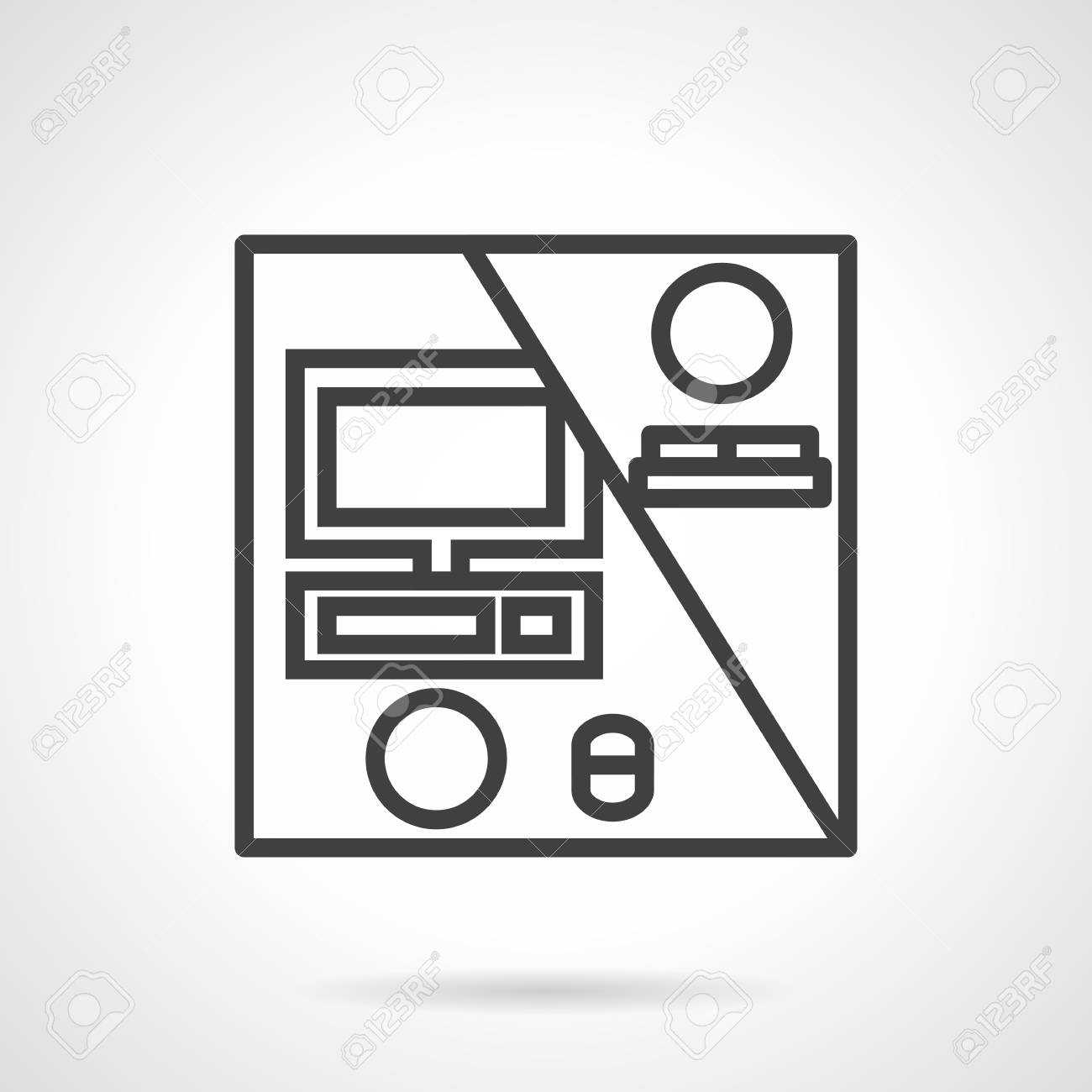 Black Simple Line Design Vector Icon For A Distance Work. Freelance ...