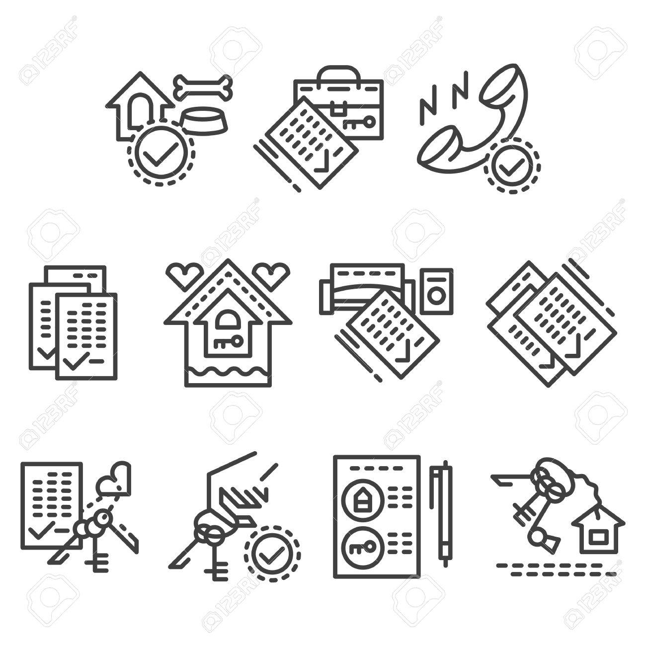 Set Of Flat Line Style Vector Icons For House Rental Agency. Search Real  Estate,