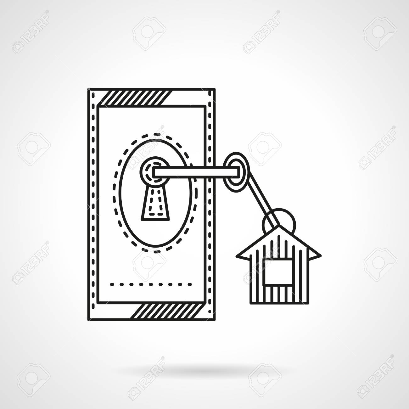 Doorlock With Key With Label Flat Line Vector Icon Symbol For