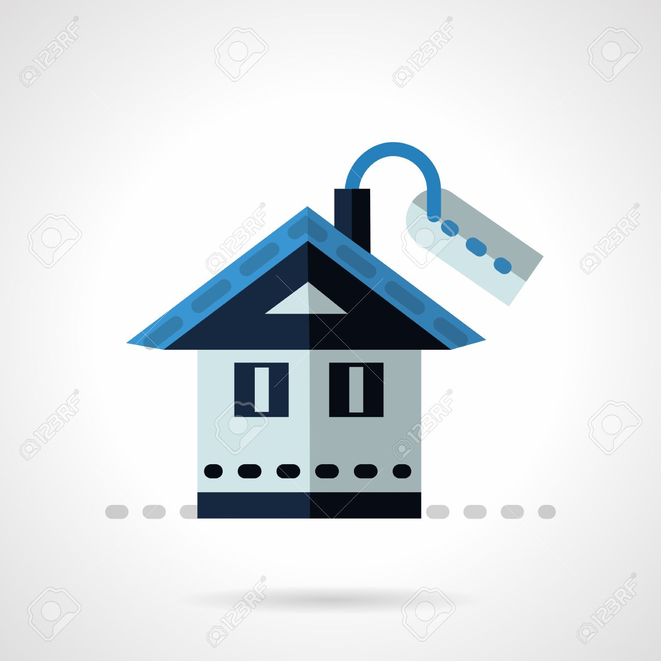 Blue House With Price Tag Flat Vector Icon Property For Sale