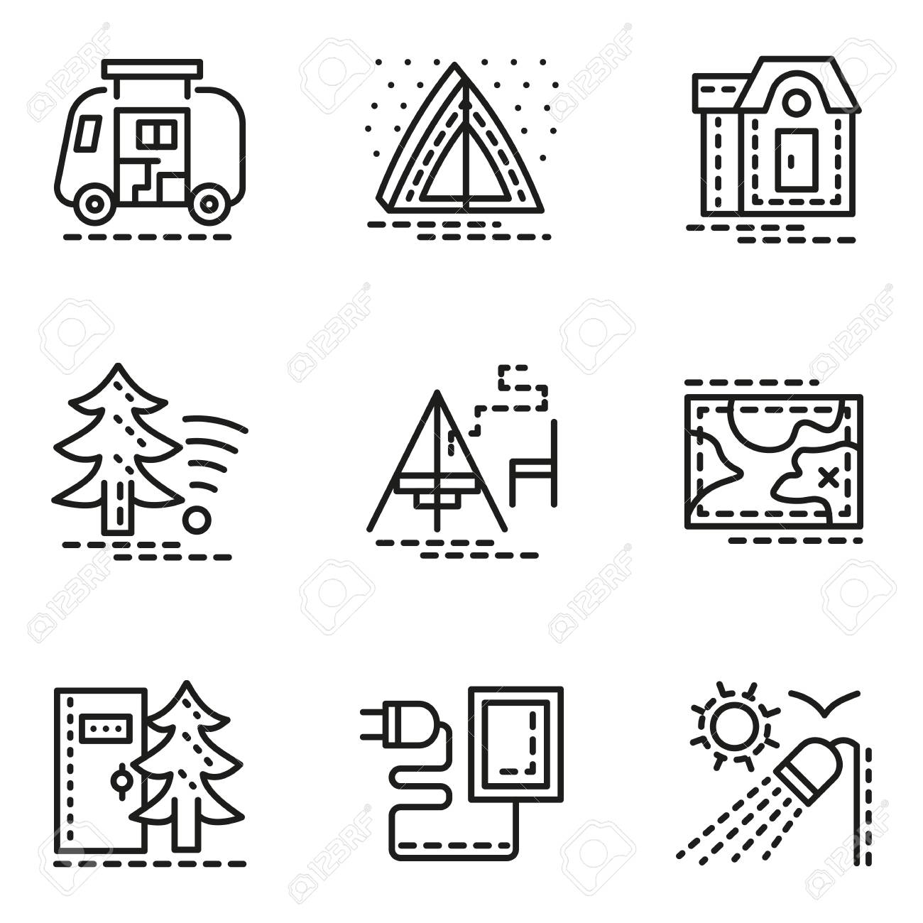 Symbols of comfort camping flat line style vector icons set symbols of comfort camping flat line style vector icons set tent navigation biocorpaavc Images