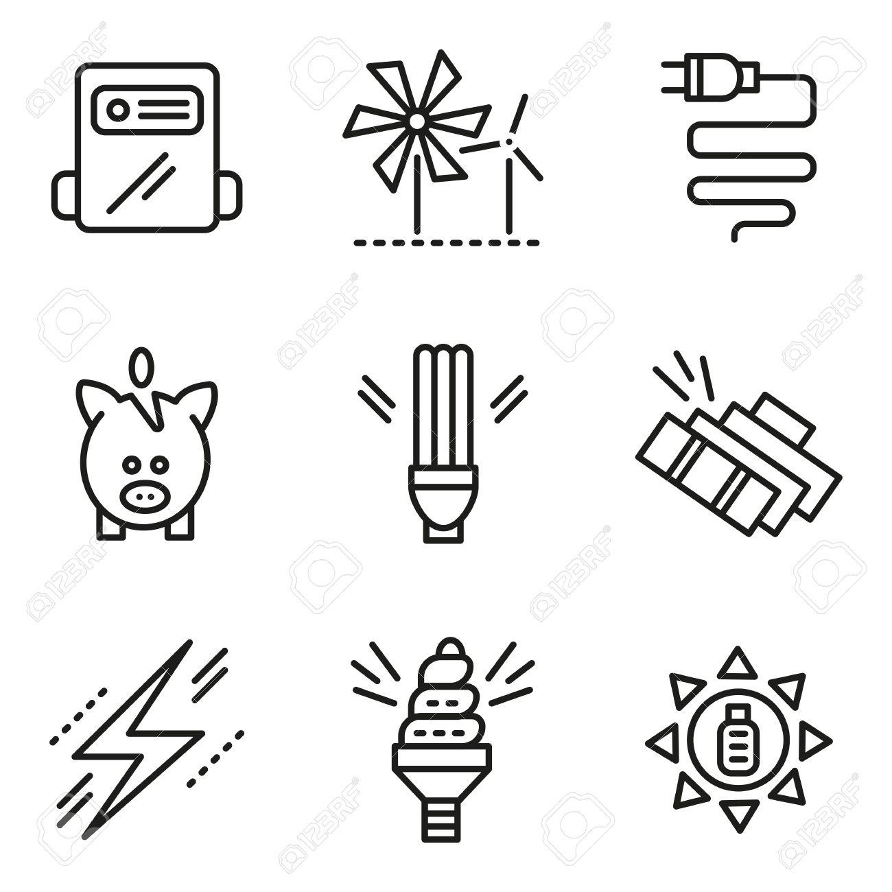 símbolos de la ecología concepto de ahorro de energía iconos línea