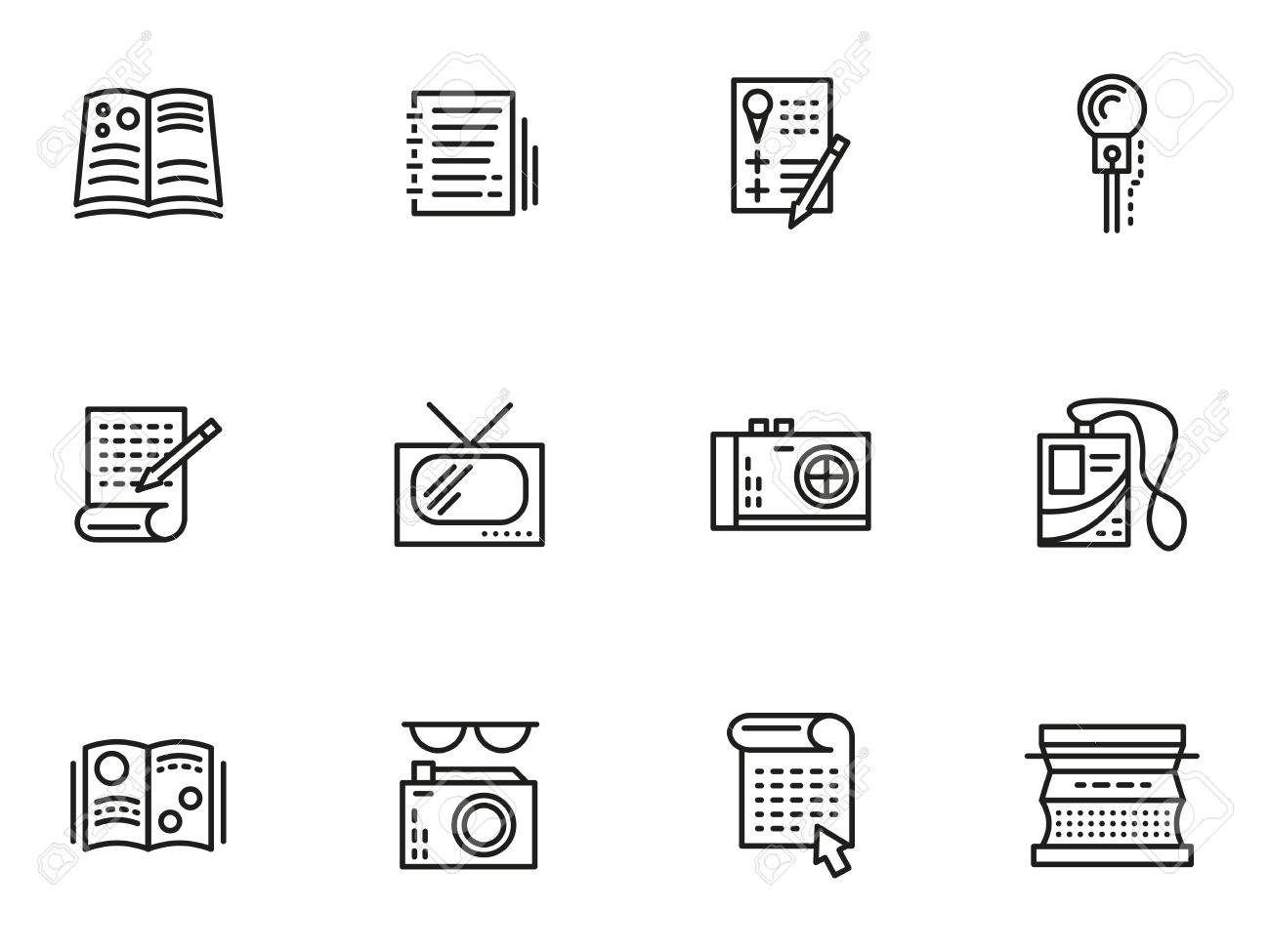 symbols of media publishing simple line vector icons set symbols of media publishing simple line vector icons set journalism reports interviews