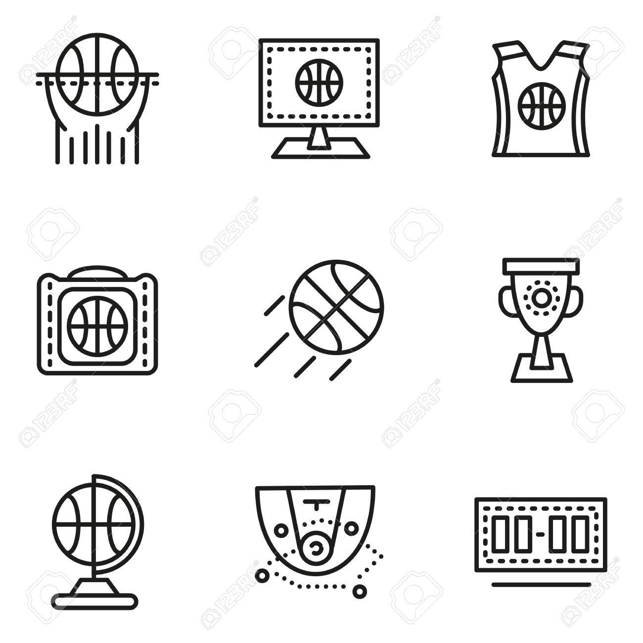 Set of black simple line vector icons for basketball scoreboard set of black simple line vector icons for basketball scoreboard game tactics cup biocorpaavc Choice Image