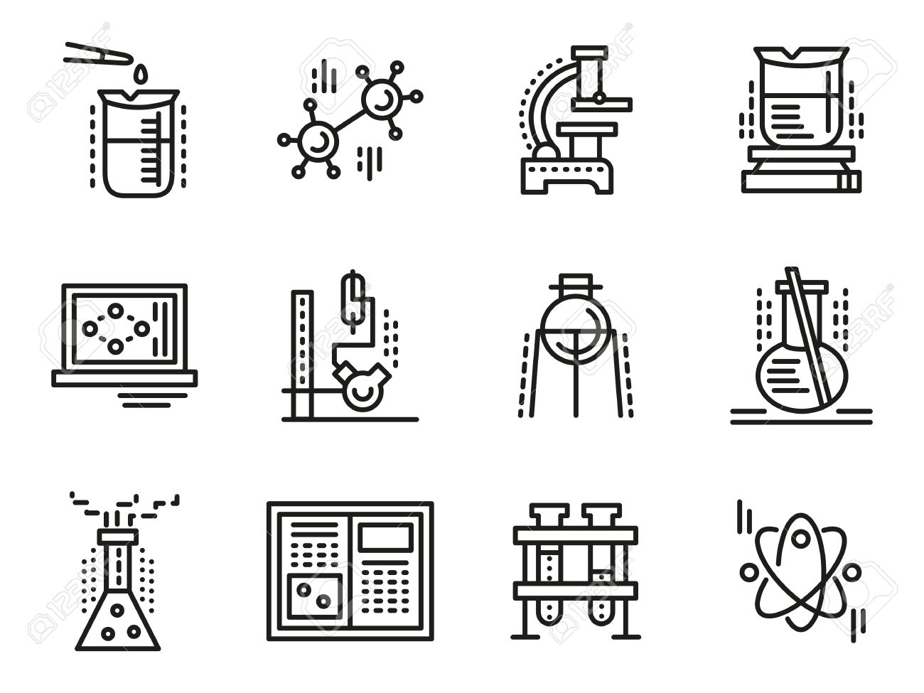 Chemistry objects symbols for education simple line vector chemistry objects symbols for education simple line vector icons set test tubes buycottarizona Images