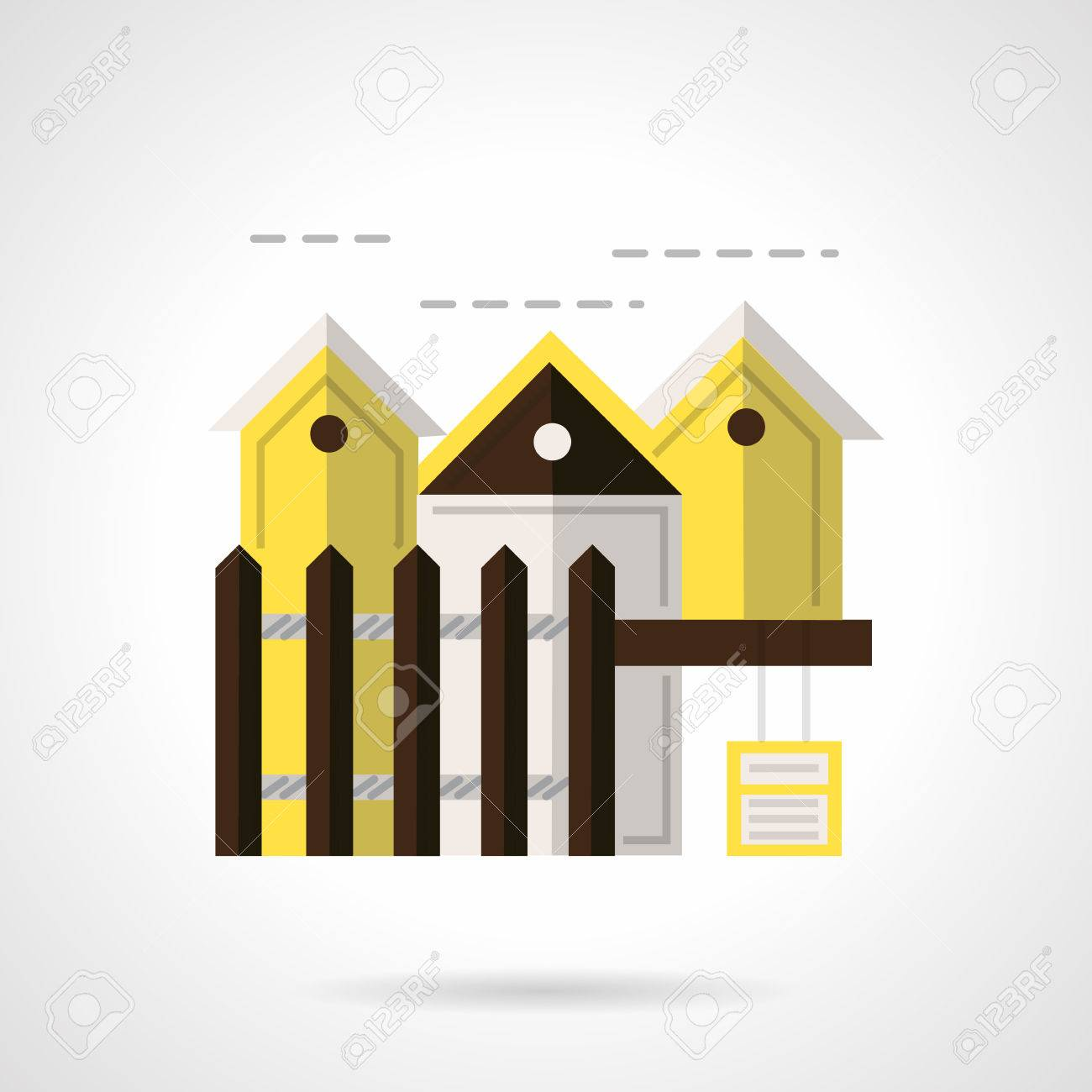 Houses row with brown fencing flat color style vector icon for houses row with brown fencing flat color style vector icon for rental of housing buycottarizona Gallery