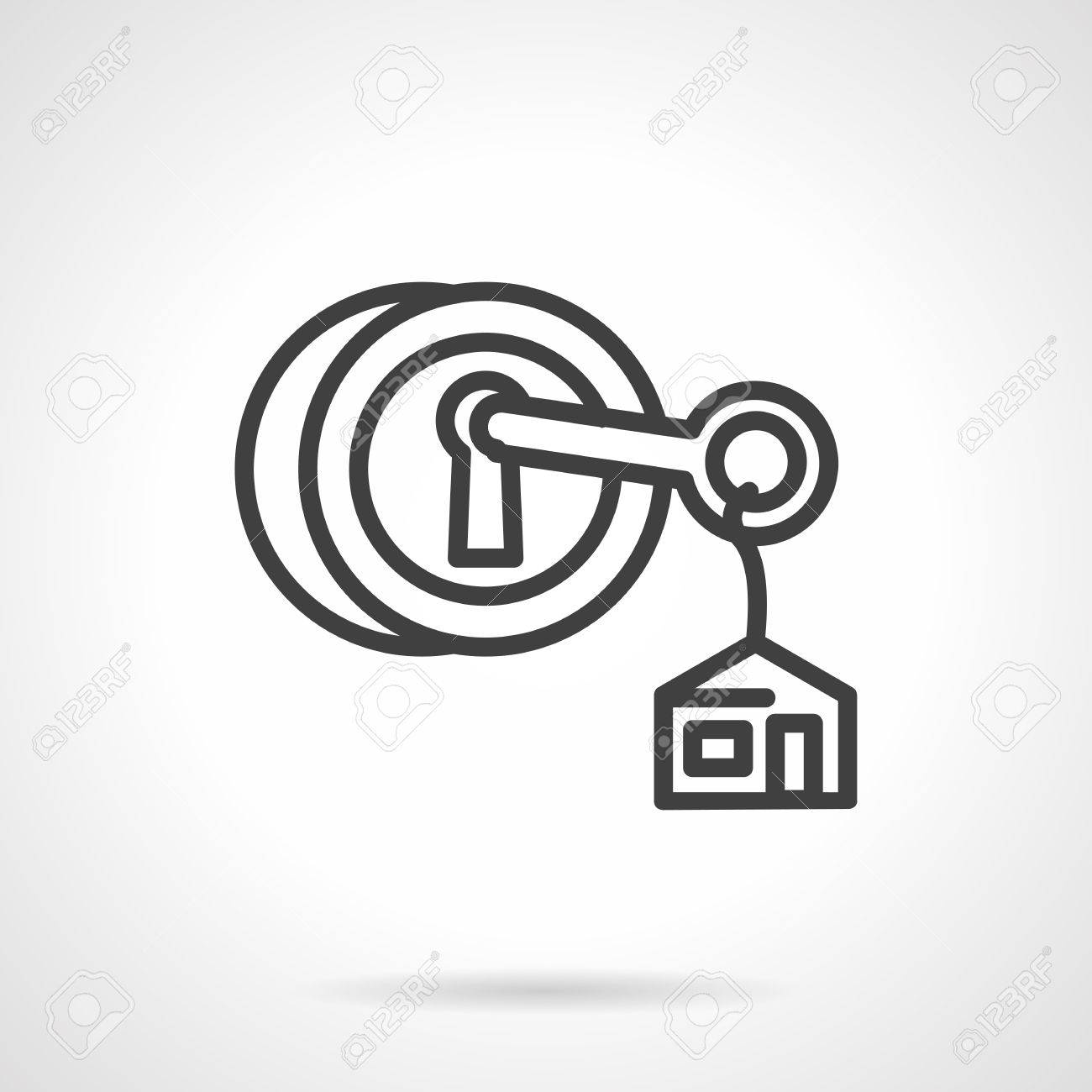 Key with house label in circle lock symbols for real estate key with house label in circle lock symbols for real estate rent of property biocorpaavc Image collections