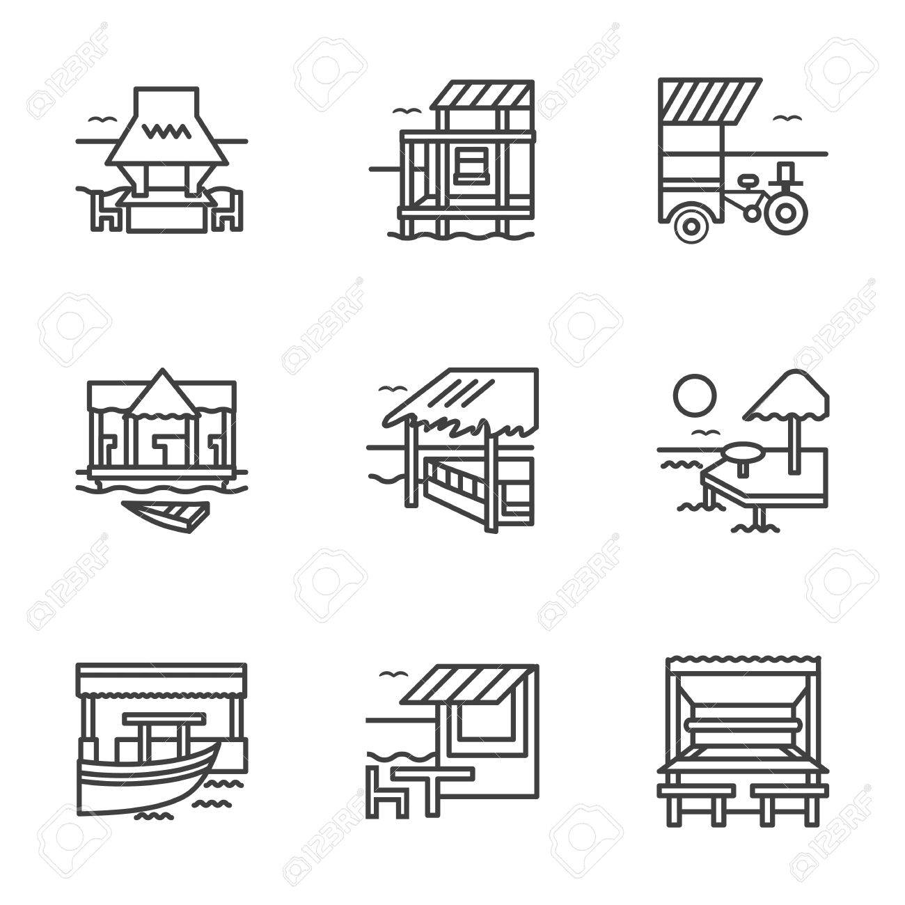 Tropical Cafe Bar And Bungalow Exotic Resort Travels Symbols Flat Black Line