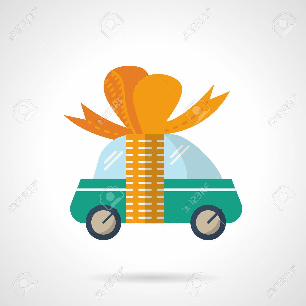 Grun Niedlich Auto Mit Orange Band Mit Schleife Neues Auto Auto