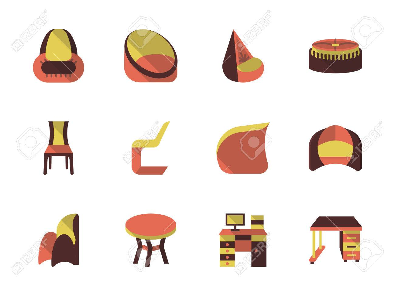 Comfortable Furniture For Modern Interior. Furniture Store. Set Of Colored  Flat Vector Icons.
