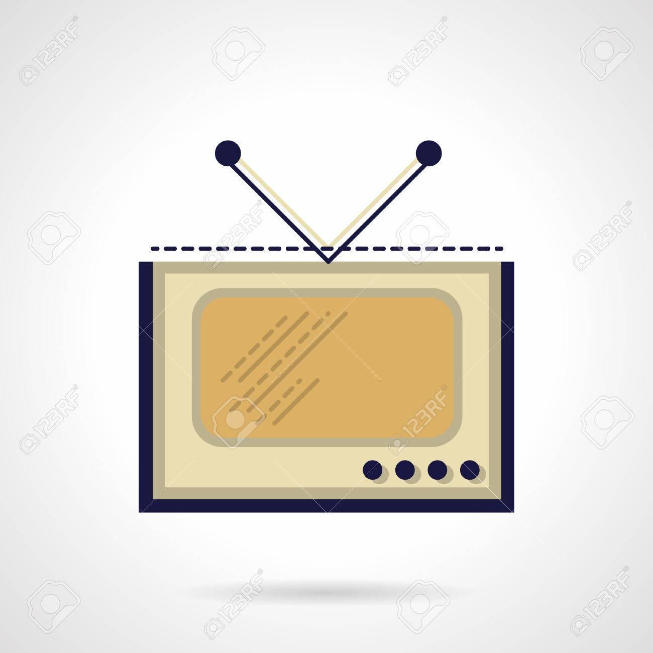 Retro TV with V-shape antenna  Media symbols, broadcasting, television