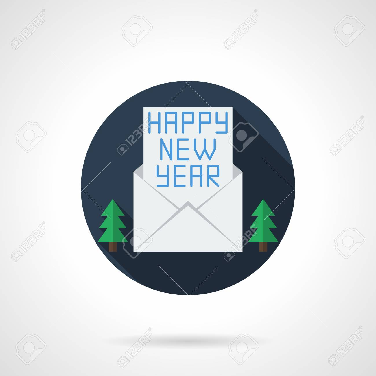 letter with happy new year wishes in blank white envelope and two firs winter holidays