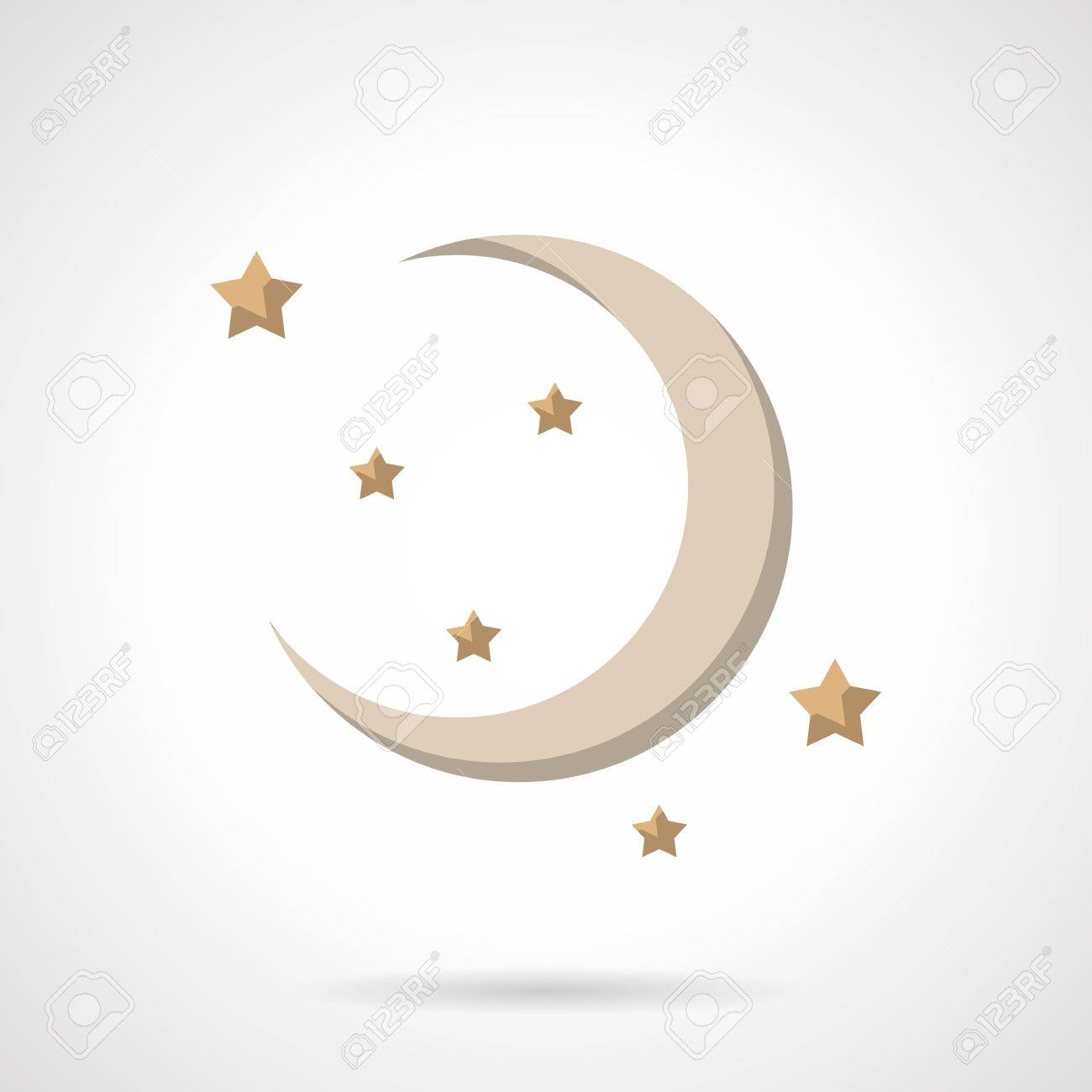 Astronomy and astrology moon symbol  New beige crescent and stars