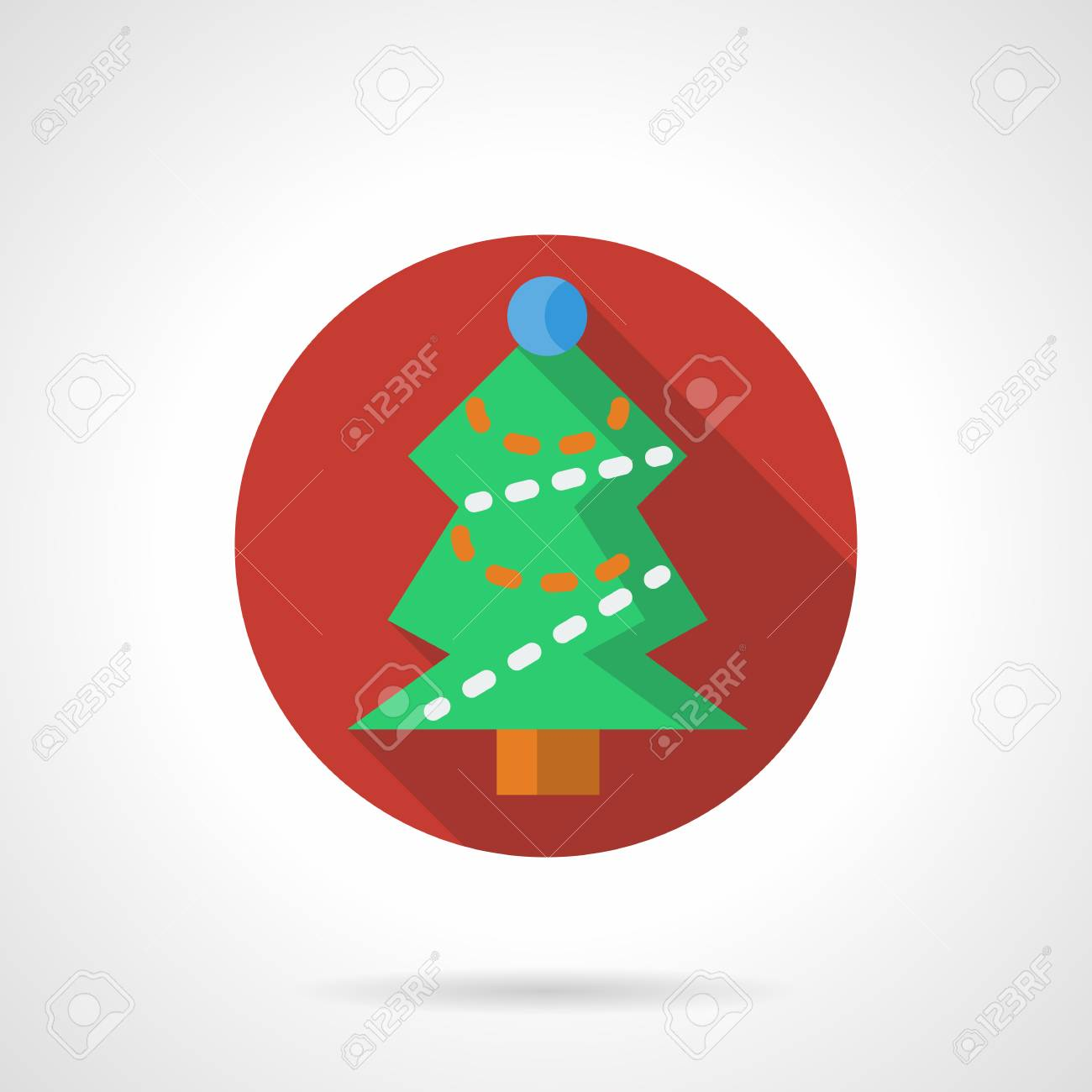 Green Christmas Tree With Decorations And Garland. New Year And ...