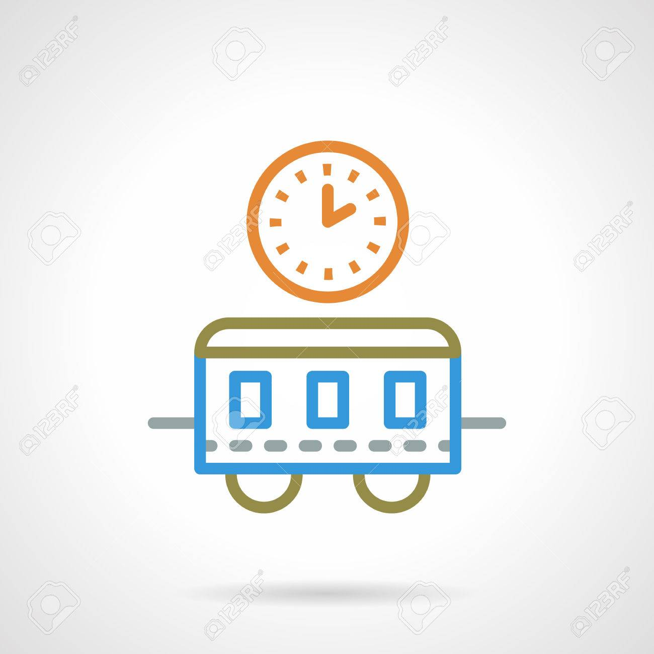 Bahnhof Uhr Und Zugwaggons. Bahn, Personenbeförderung, Reise. Farbe ...